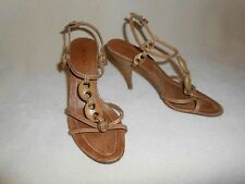PRADA STRAPY LEATHER AND WOOD HEELS SIZE 36 1/2