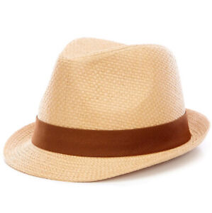 Boys Fabric-Band Fedora Class Club Tan And Brown Little Boy Size One New