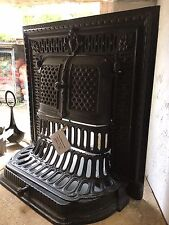 J DAY Ornate Original French Filigree Fireplace Front Trim Cast Iron Unique