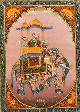 Maharajah Elephant Safari Palace Painting Decorative Miniature Silk Art