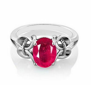 1.50 Carat Oval Shape Natural Burmese Red Ruby Solitaire Ring In 14KT White Gold