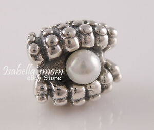 ONE OF A KIND Authentic PANDORA White PEARL SHELL Beach Charm 791134P w POUCH!