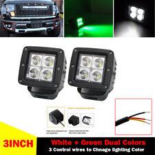 "2X 3"" Green + White Dual Color LED Work Light Spot Beam 3x3"" Cube Pod Driving"