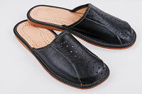 Men`s  Leather Slippers 100%Black Natural Leather  size:UK 6,7,8,9,10,11,12