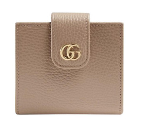 New Gucci GG Marmont Compact Zip Snap Grainy Leather Wallet Rose Nude Beige NIB!