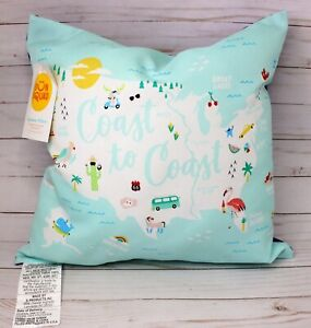 Sun Squad Coast To Coast Turquoise Outdoor Throw Pillow Sun Squad Summer