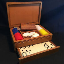 Wooden Poker Chip and Domino's Card Storage Chest
