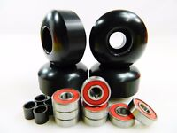 Blank Pro Skateboard 52mm 99a Black Wheels + ABEC 7 Color Bearings + Spacers