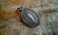 "ANTIQUE MARKED SILVER FRENCH CATHOLIC MEDAL VIRGIN MARY ""OUR LADY OF LOURDES"""