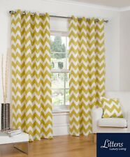 Chevron Ochre Ring Top / Eyelet Fully Lined Readymade Curtain Pair 66x90in 167x2