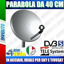 PARABOLA 40 CM IN ACCIAIO ANTENNA SATELLITARE TELESYSTEM PER SKY O TIVUSAT