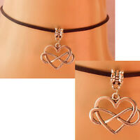 Heart Choker Necklace Handmade Silver Celtic Infinity Chain New Fashion Black