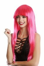 Perücke Damenperücke Karneval Halloween lang glatt Pony pink rosa Disco Glam
