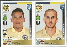 PANINI-2016 FIFA 365- #637-638-CLUB AMERICA-MICHAEL ARROYO-DARIO BENEDETTO