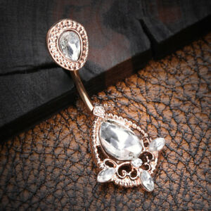 Rose Gold Elegant Teardrop Lace Sparkle Belly Button Ring