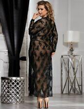 Black Long Delicate Lace Robe & Thong Sleepwear Set Plus Size 16 18