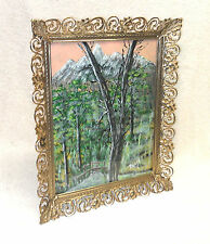 Vintage Signed Oil Painting in Stamped Tin Frame, Beautiful!