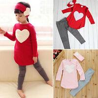Kids Girls Winter T-shirt Tops + Slim Pants + Headband Outfits Clothes 3Pcs Set