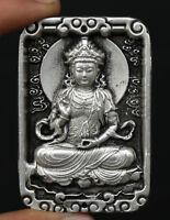 "2.8"" Chinese Miao Silver Hand Carving Buddhism Kwan-yin Guan Yin Amulet Pendant"