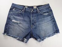 Adriano Goldschmied AG Jeans Rambler Slouchy Short Light Wash Distressed No Size
