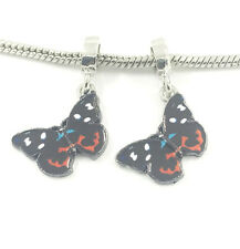 NEW 2pcs Gold Butterfly European Charm Spacer Beads Fit Necklace Bracelet