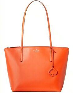 Kate Spade Zina Smooth Leather Orange Tamarillo Large Tote NWT WKRU6852 $329 FS