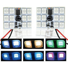 A1 2x RGB Multi-Color LED Panel Light 12-SMD 5050 Interior Accent Bulbs w Remote