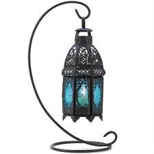 Blue Glass Hanging Candle Lantern