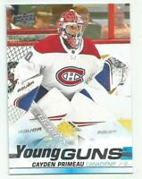 CAYDEN PRIMEAU Montreal Canadiens  2019-20 Upper Deck Series 2 YOUNG GUNS Rookie