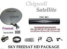 SKY HD FREESAT PVR4 300GB SATELLITE RECEIVER BOX INC:- ZONE 1 DISH & 25M KIT