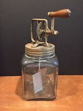 LARGE Antique Vintage Kitchen Beater Mixer Butter Churn Jar Screw Top Lid