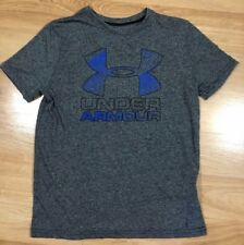 Boys Under Armour Shirt Ymd Loose Heat Gear Gray And Blue