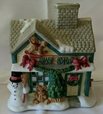 Party Light Toy Shop Ceramic Bisque Christmas Village T-Light Holder, Ec w/ Box