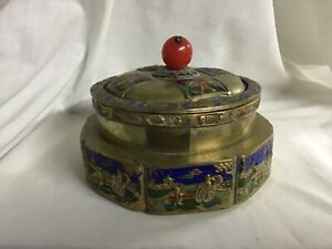 ANTIQUE BRASS & ENAMEL CHINESE TEA CADDY BOX - CORAL GLASS FINIAL