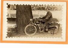 Real Photo Postcard RPPC - Man on Indian Motorcycle