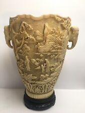 More details for vintage large chinese design resin vase elephant handles