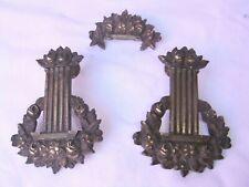 Ornement ancien bronze art nouveau XIX couronne fleurs meuble pendule