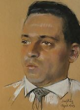 ERICH KUX (1882 QUEDLINBURG -BERLIN 1977) MANN MIT HEMD & KRAWATTE -PORTRÄT 60's