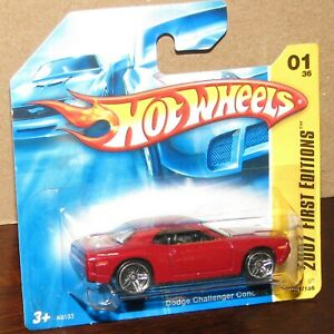 Hot Wheels 2007 First Edition #01 DODGE CHALLENGER CONCEPT Red on Short Card