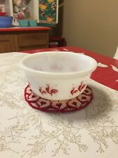 "Hazel Atlas Red Rooster Mixing Nesting Bowl 6"" Milk Glass Vintage"