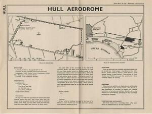 1937 Vintage Map Of Hull Aerodrome Newnes Aeronautics