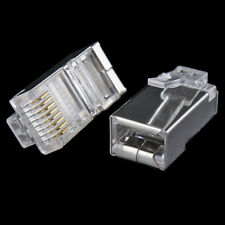 100 Pcs LOT RJ45 8P8C Network Shielded Modular CAT5 CAT5E Plug Connector End