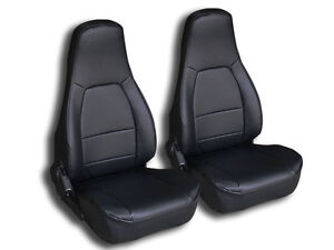 MAZDA MIATA 1990-1997 BLACK IGGEE S.LEATHER CUSTOM FIT 2 FRONT SEAT COVERS