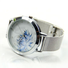 Lady Women Fashion Blue Lotus Rhinestone Stainless Steel Mesh Quartz Wrist Watch