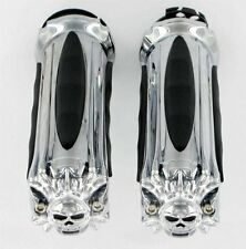 HARLEY DAVIDSON Chrome ZOMBIE SKULL Grips (Dual Cable Throttle) (KURYAKYN 6296)