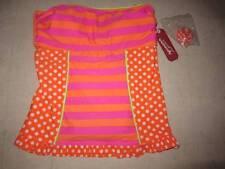 Arizona Swimwear Orange Tankini Top Youth Girls Polka Dot/Stripesz S - NWT $28