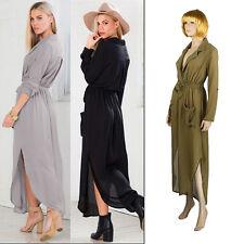 UK womens OVERSIZE SPLIT MAXI long dress shirt evening party cocktail WRAP TUNIC