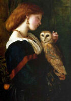 LMOP524 beautiful  girl & bird owl hand painted art oil painting on canvas