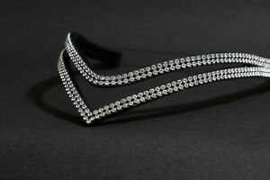 BLING DIAMANTE SPARKLY DOUBLE ROW WHITE CRYSTAL, BLACK LEATHER V SHAPE BROWBAND