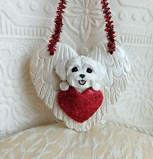 Maltese puppy cut Ornament dog lover hand sculpted Furever Clay by Raquel